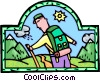 mountain climber, hiker Vector Clipart illustration