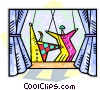 Vector Clip Art graphic  of a puppets performing on a stage