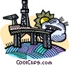 oil drilling platform, energy, petroleum industry Vector Clipart illustration