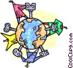 Vector Clipart picture  of a wind-up keys in mother earth
