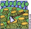 Vector Clip Art image  of a destruction of forests