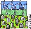Electricity generated by windmills fed to homes Vector Clip Art image