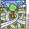 Vector Clipart graphic  of a Concrete jungle encroaching on nature