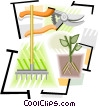 gardening tools, pruning shears, rake Vector Clipart illustration