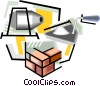 brick layer's tools, bricks. masonry Vector Clipart graphic