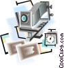 Vector Clip Art graphic  of a camera with bellows