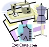 Vector Clip Art graphic  of a fashion industry with sewing