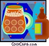ceramic beer bottle with beer mug Vector Clipart illustration
