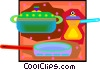 kitchen pots and pans Vector Clip Art graphic