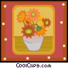flowers with  vase in decorative frame Vector Clip Art graphic