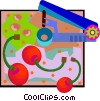 Vector Clip Art image  of a cherries and cherry pitter