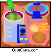 Vector Clip Art graphic  of a kitchen deep fryer with potato