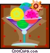 Vector Clip Art graphic  of a fresh fruit martini with fruit