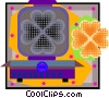 Vector Clip Art graphic  of a waffle maker and waffle