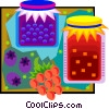 wild berry preserves with fresh berries Vector Clipart illustration