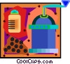 Vector Clip Art picture  of a pepper mill with pepper corns