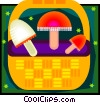 tasty mushrooms with basket Vector Clipart picture