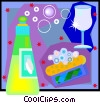 beverage glass, cleanser and sponge Vector Clip Art graphic