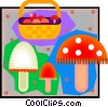 mushrooms, mushroom basket Vector Clipart picture