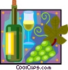 wine, bottle, glass, grapes Vector Clip Art picture