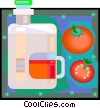 Vector Clip Art graphic  of a tomatoes and container