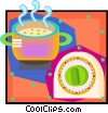Vector Clip Art image  of a kitchen soup and timer