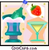 Vector Clip Art picture  of a Champagne and strawberry