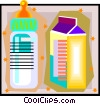 milk containers, baby bottle, Vector Clip Art picture