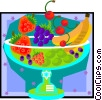 Vector Clip Art image  of a fruit bowl in decorative frame