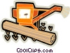 Vector Clip Art image  of a grain harvester