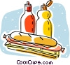 Vector Clip Art image  of a sandwich with condiments