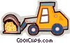 farm tractor with hay load Vector Clip Art graphic