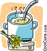 soup cooking on a stove Vector Clip Art picture