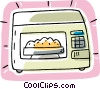 microwave oven, kitchen Vector Clipart illustration