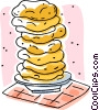 Vector Clipart picture  of a flat bread stacked on plate