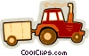 Vector Clip Art image  of a tractor with trailer
