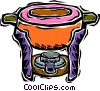 Vector Clip Art image  of a fondue pot