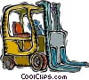 Vector Clipart graphic  of a forklift