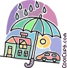 home, car, umbrella Vector Clip Art picture
