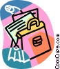briefcase with papers Vector Clip Art graphic