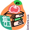 Vector Clipart illustration  of a Student's books with apple