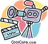 Vector Clip Art graphic  of a motion picture camera with