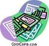 personal organizer, wallet Vector Clipart illustration