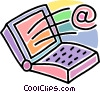 Vector Clip Art image  of a notebook computer with @ sign