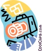 Vector Clip Art image  of a 35 mm camera with flash