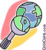 Vector Clip Art graphic  of a magnifying glass with planet