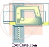 Vector Clip Art graphic  of a electric hand saw