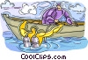 Vector Clipart graphic  of a Scuba diver going into water