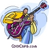 jazz musician, electric guitar Vector Clip Art image