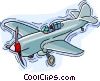 Airplane, single engine propeller plane Vector Clipart image